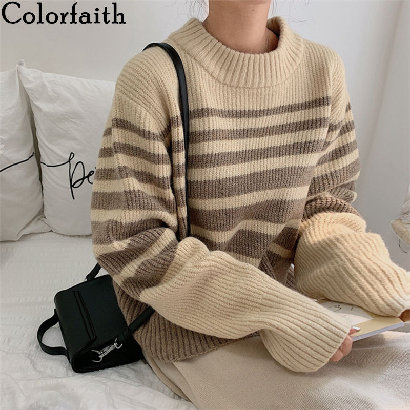 Colorfaith New 2019 Autumn Winter Women's Sweaters Loose Casual Fashionable Pullovers Korean Style Knitted Striped Tops SW18160