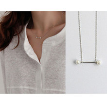 New Tiny Small Two White Pearl Necklace 925 Sterling Silver Women Bar Fashion Pendant Necklace Thin Chain 1mm Necklaces(China)
