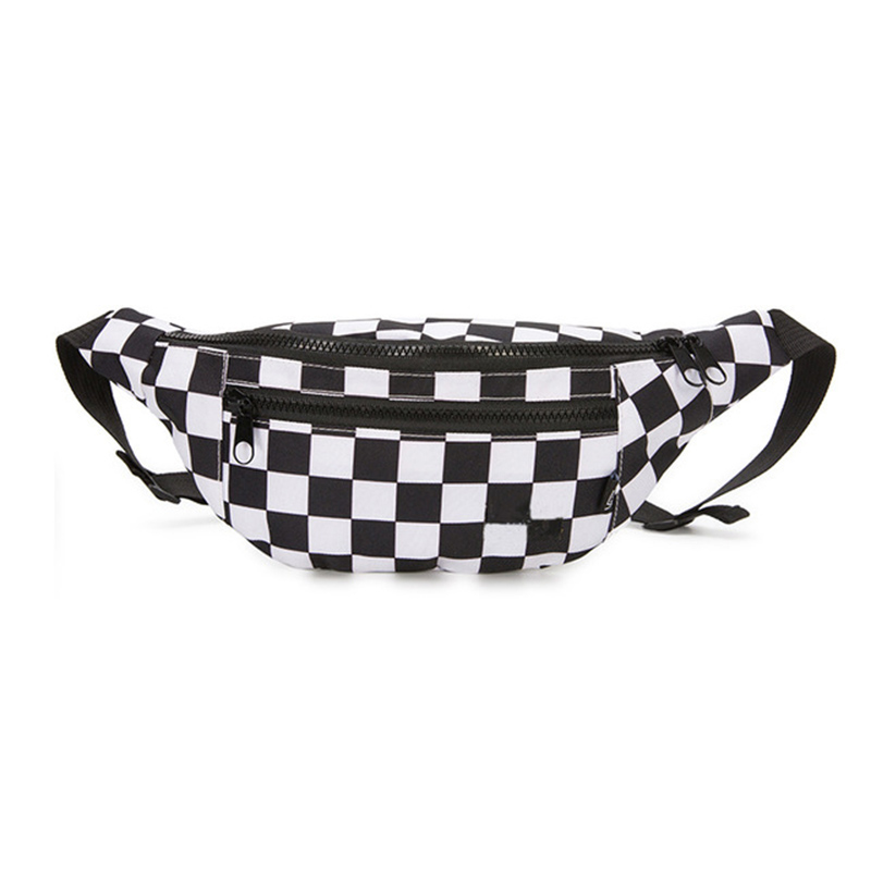 Girls Bag Canvas Waist Belt Bag Black White Travel Bags Casual Chest Pack Women Fanny Pack Two Pocket Waist Packs For Female A90