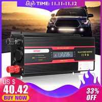 Inversor de coche 12V 220V 6000W Pe ak convertidor de voltaje transformador 12 V/24 V a 110 V/220 V Inversor + pantalla LCD