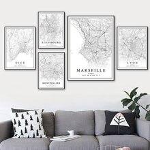 França mapa da cidade paris lyon marselha montpellier nice estrasburgo toulouse posters quadros em tela casa decoração interior