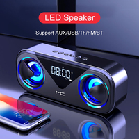 2021 Bluetooth hoparlör çift hoparlör FM radyo LED çalar saat Bluetooth hoparlör çalar saat hoparlör Subwoofer 3D şok edici ses