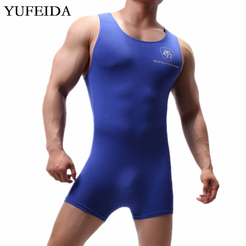 Sexy Mens Undershirts Leotard Bodysuits Jumpsuits Swimwear One-piece Wrestling Singlet Nightwear Men Underwear Bulge Pouch Boxer