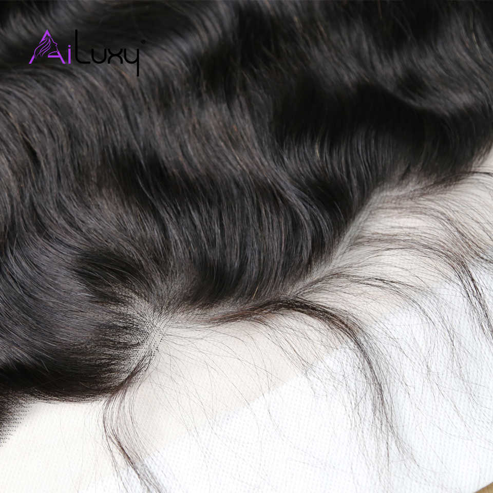Ailuxy OneCut cabello peruano cabello virgen suizo transparente encaje Frontal cuerpo onda medio marrón encaje Frontal 13x4 100% cabello humano
