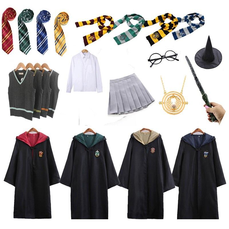 Гарри Поттера костюм Косплэй равенклав, хуфлепуф, накидка факультета Слизерин с шарфом палочка очки рубашка платье свитер для девочек Детский костюм на Хеллоуин| |   | АлиЭкспресс