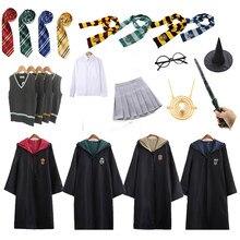 Гарри Поттера костюм Косплэй равенклав, хуфлепуф, накидка факультета Слизерин с шарфом палочка очки рубашка платье-свитер для девочек Детс...