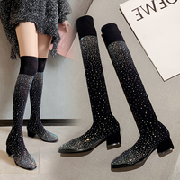 Over The Knee Women Sock Boots Round Toe Mid Heeled Rhinestone Slip On Bling Shoes Sexy Fashion Knee High Boots Woman Dress Shoe