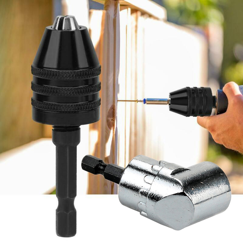 Metal Angle Driver Screwdriver Drill Chuck Kit Hex Shank End Tips Bits Converter Adapter Power Drilling Tools