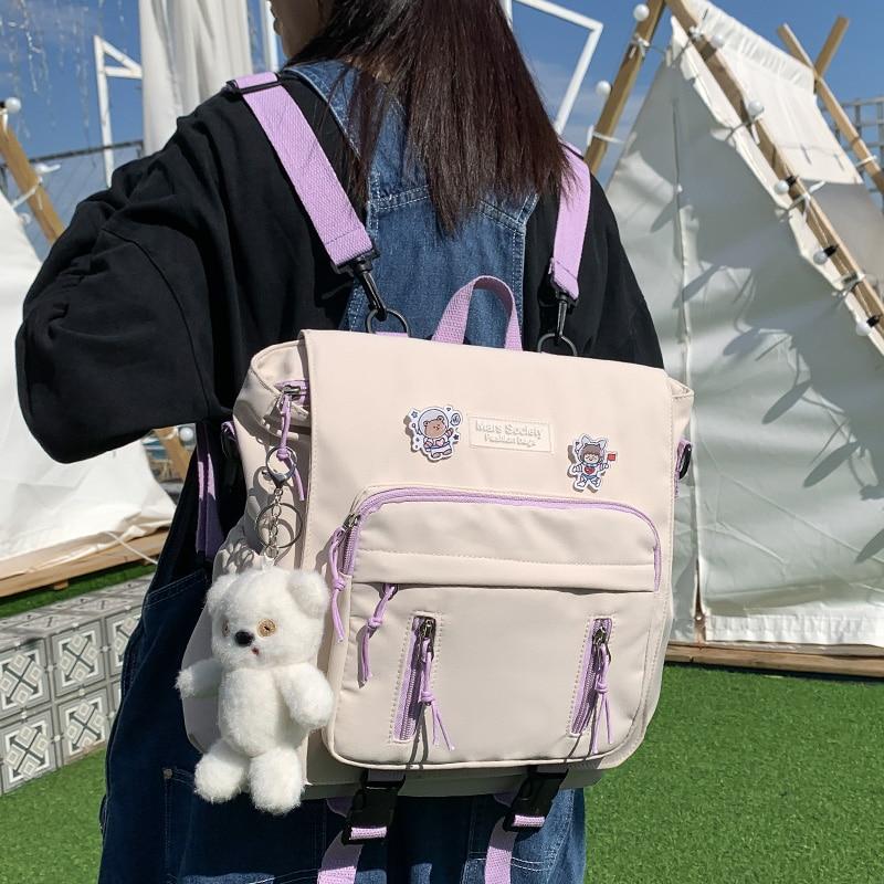 DCIMOR New Lovely Multifunctional Backpack Teenage Girl Portable Travel Bag Female Small Schoolbag Insert Buckle Women Backpacks