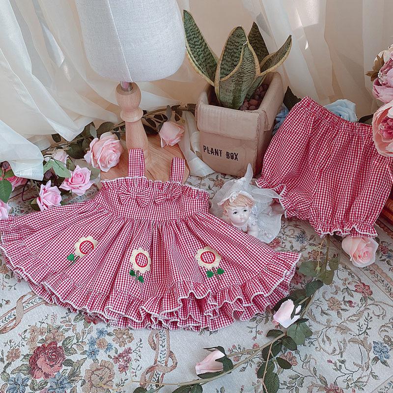 Детское летнее короткое платье в стиле «Лолита» с подсолнухами