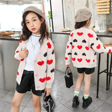 Get more info on the Korean Style Baby Girl Cardigan Casual Sweater with Heart For Girls Red Heart Print Knit Sweater High Quality Kids Knitwear 4-11