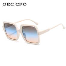 OEC CPO Women Vintage Oversized Square Sunglasses Lady Big F