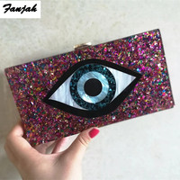 Colorful Evil Eye Acrylic Box Clutches Women Brand Shoulder messenger Flap Party Lady customized evileye purse wallet tavel Bags