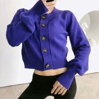 19 Spring WOMEN'S Dress Versatile Retro Large Button Crew Neck Sweater Sleeves Hollow out Color Thin Sweater Cardigan