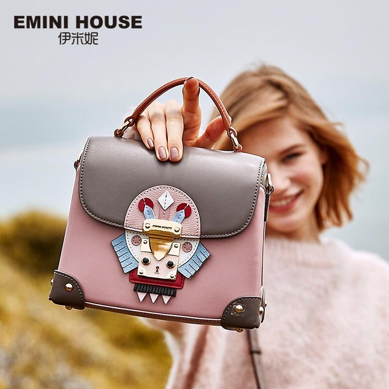 хаус сумки - EMINI HOUSE Indian Style Handbag Luxury Handbags Women Bags Designer Split Leather Box Bag Crossbody Bags For Women Shoulder Bag