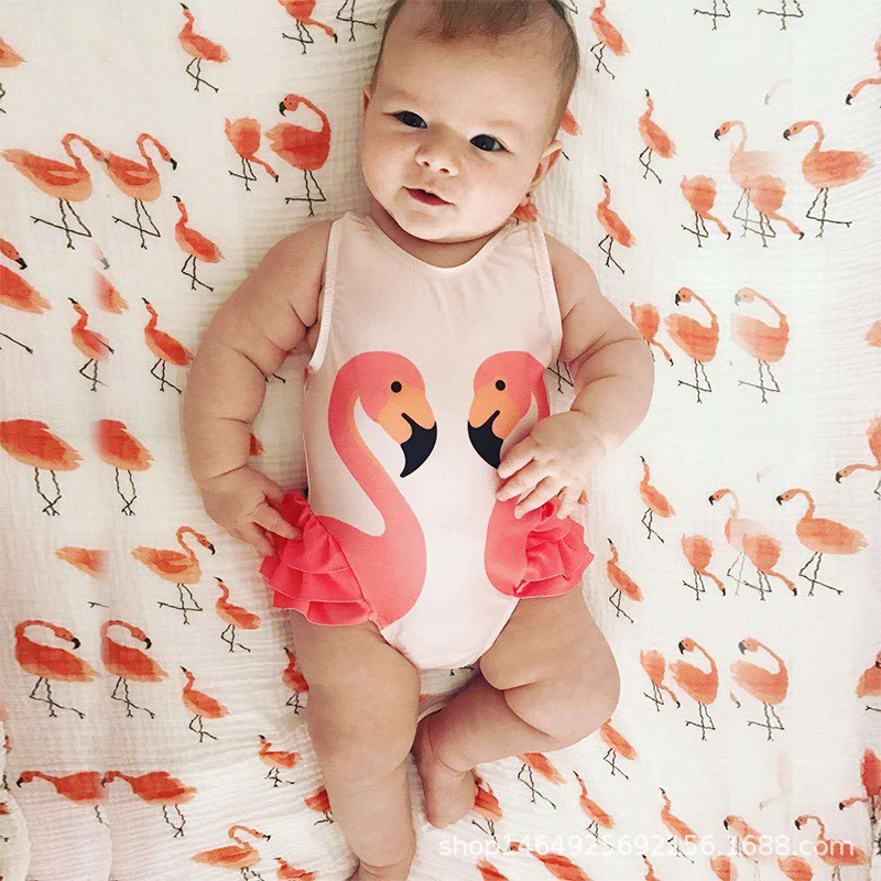 Young CHILDREN'S Bathing Suit GIRL'S One-piece Princess Baby Black And White Swan South Korea Girls Flamingo One-piece Small CHI