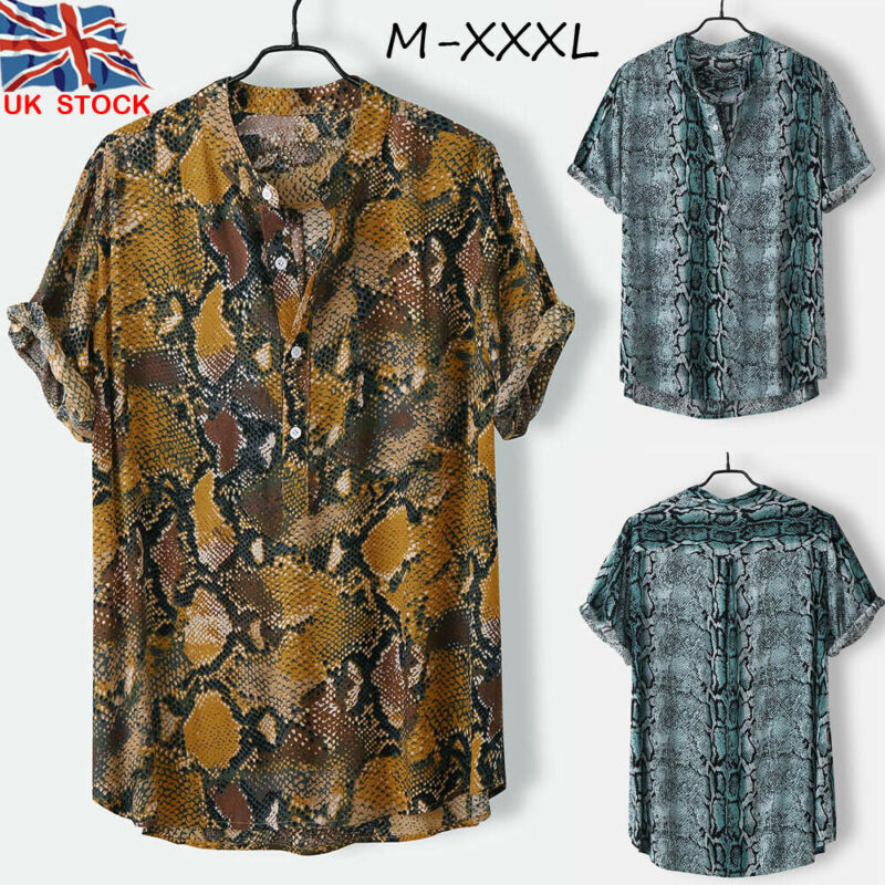 Plus Size Men/'s Short Sleeve Loose Blouse Hawaiian Buttons Shirt T-shirt Tops