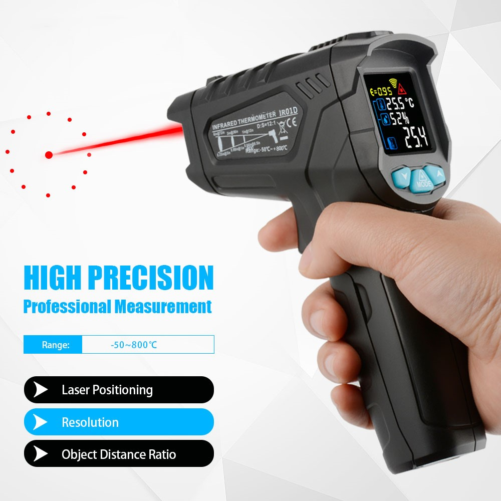 IR01 digital infrared thermometer laser thermometer gun color LCD screen hygrometer infrared thermometer