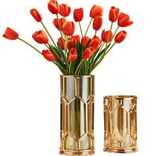 Creative American Glass Candle Holders Iron Vase Metal Gold Candlestick Living Room Flower Table Decorations Gift