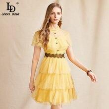 LD LINDA DELLA Summer Fashion Runway Dress Women Stand collar Lace Ruffles Dot Print Boho Vacation Beach Female Mini Cake Dress