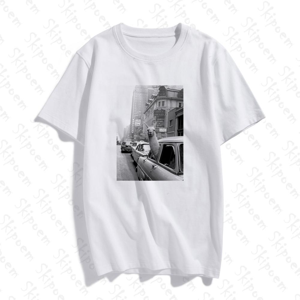 Модная футболка с короткими рукавами футболки из 100% хлопка с принтом ламы в такси на Таймс Сквер, Повседневная футболка с круглым вырезом футболка унисекс