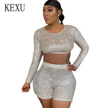 KEXU Beige Two Pieces Sets Sequin Jumpsuits Women Long Sleeve Sparkly Bodycon Playsuits Sexy Rompers Glitter Club Party Overalls huti casual two pieces sets sweater knitted jumpsuits for women autumn womens long sleeve bodycon sexy playsuits solid overalls