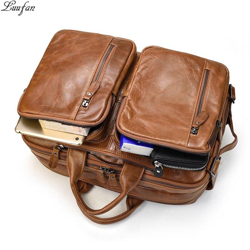 Vintage Men Business Briefcase Bag Multifunction Genuine Leather 14 inch Laptop Bag Double Layer Handbag Cowhide