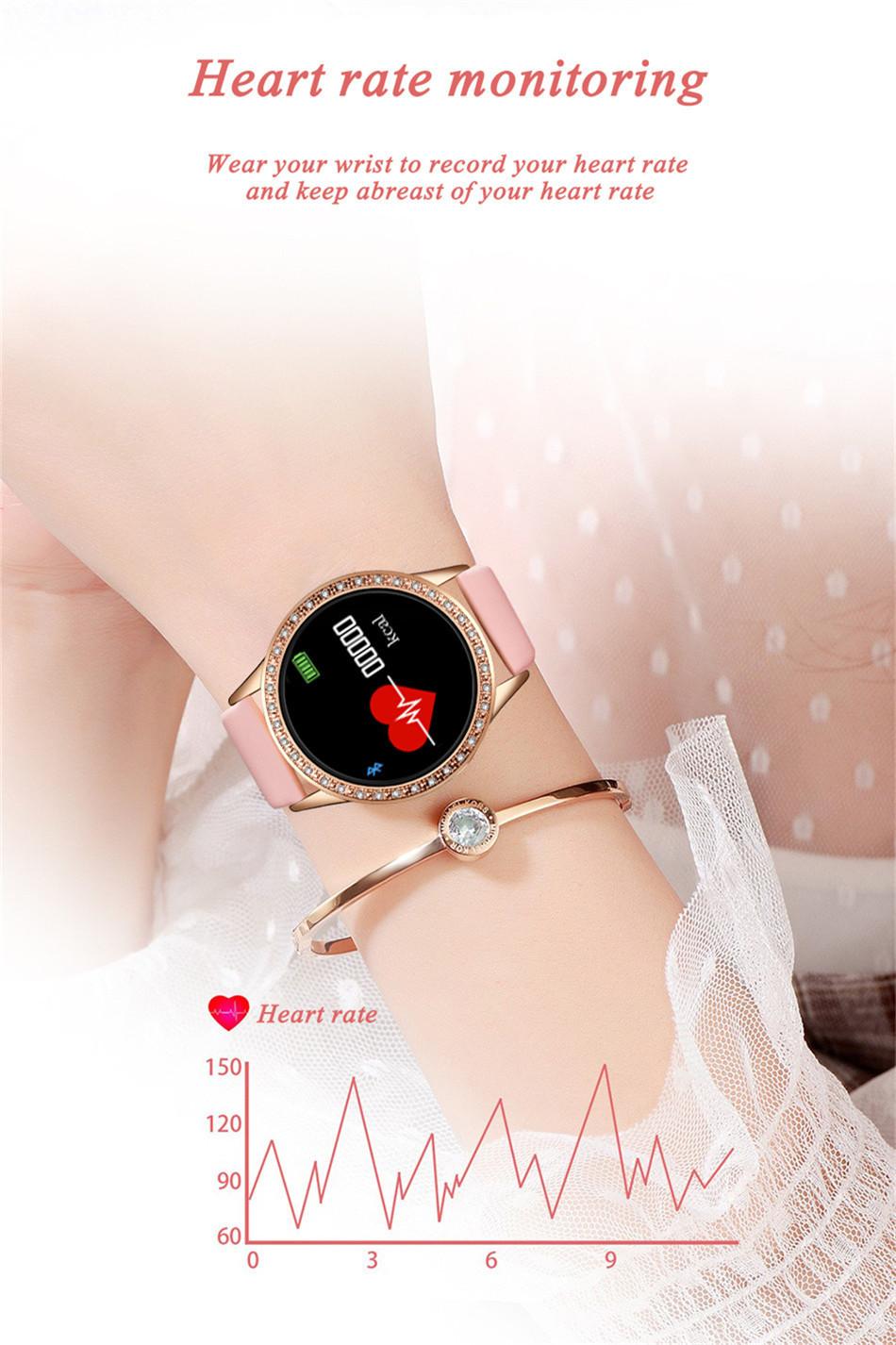 Reloj inteligente LIGE para mujer con monitor, seguidor Fitness de frecuencia cardíaca y presión arterial 3
