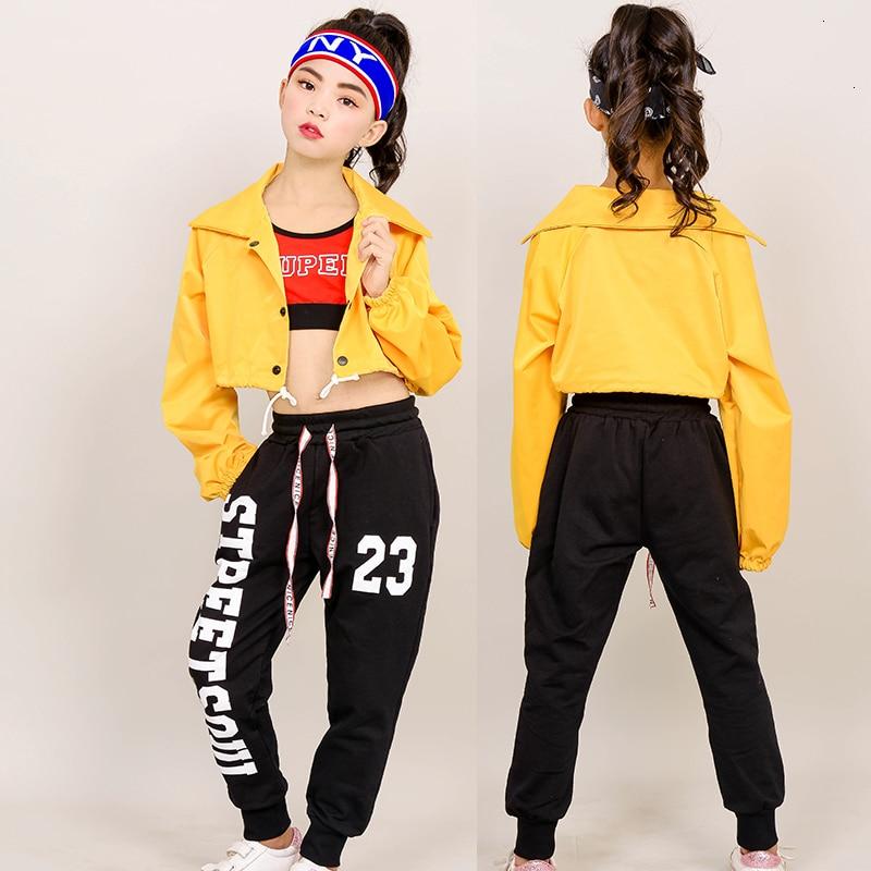 Children Sir Dance Clothing Girl Tide Suit Navel Hiphop Girl Hip Hop Show Pupil Hip-hop