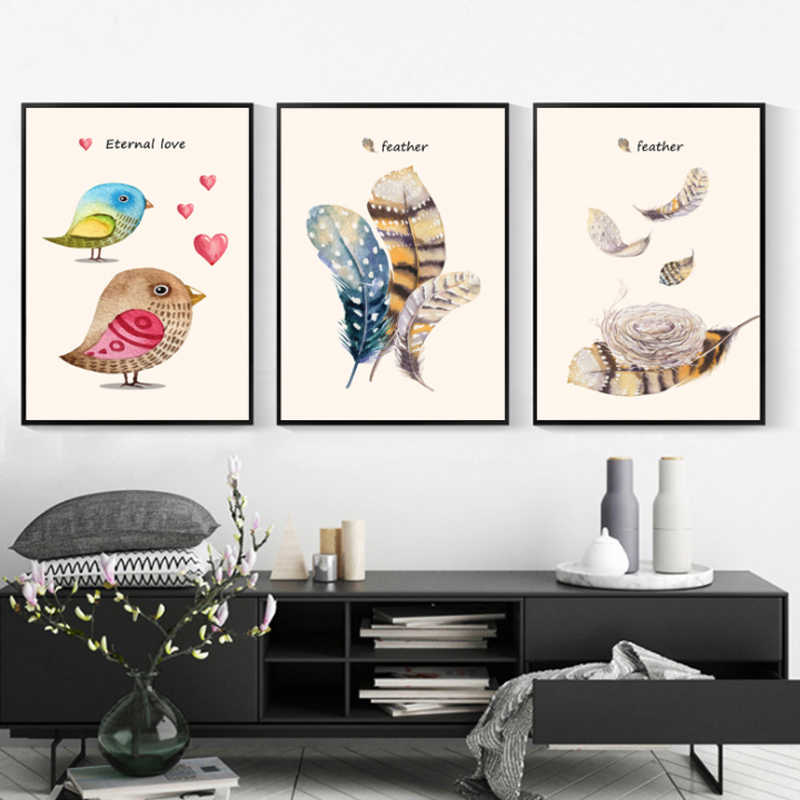 Abstract Canvas Painting Feather Love Heart Bird Wall Art Print Poster Picture For Bedroom Living Room Decoration Poster
