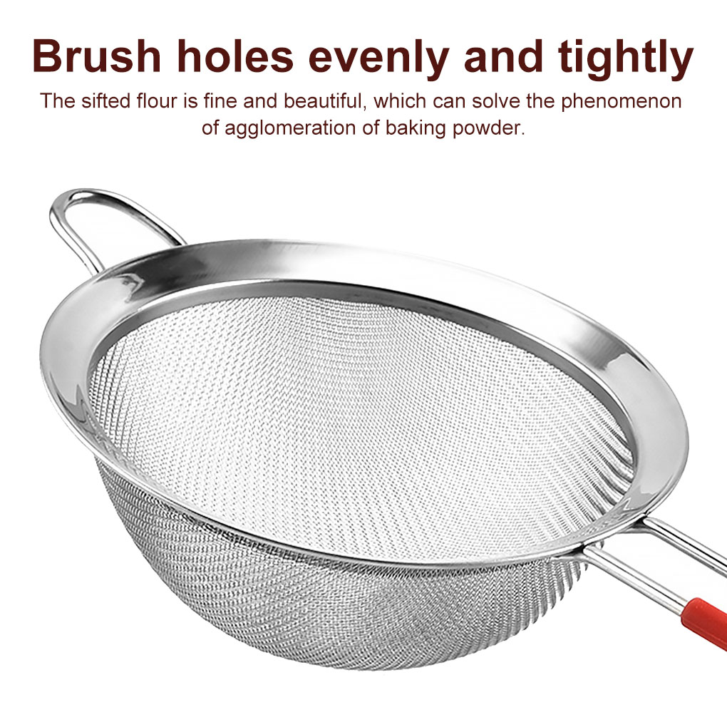30 Mesh Double Layer Strainer Sifter Stainless Steel Baking Flour Sieve Cocoa Powder Sieve Washable Baking