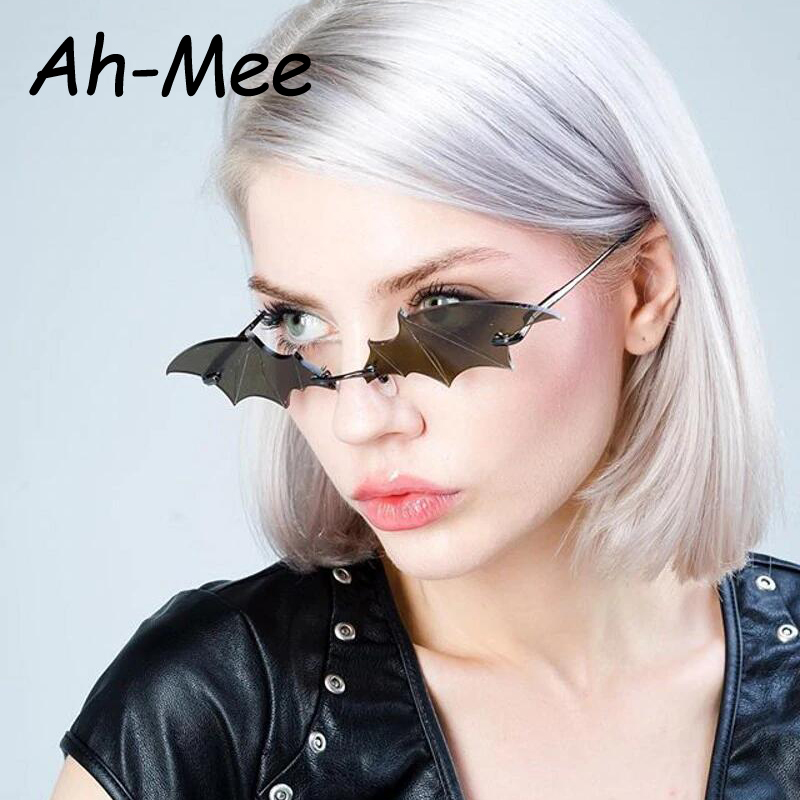 Fashion Bat Sunglasses Women Men Luxury Brand Vintage Cat Eye Rimless Sun Glasses Unique Brand Designer Trending Female Shades