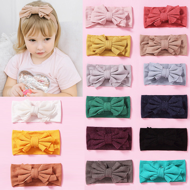 Balleenshiny Nylon Elastic Baby Girl Headband Headdress Kids Girls Hair Accessories Newborn Infant Princess Bowknot Headwear