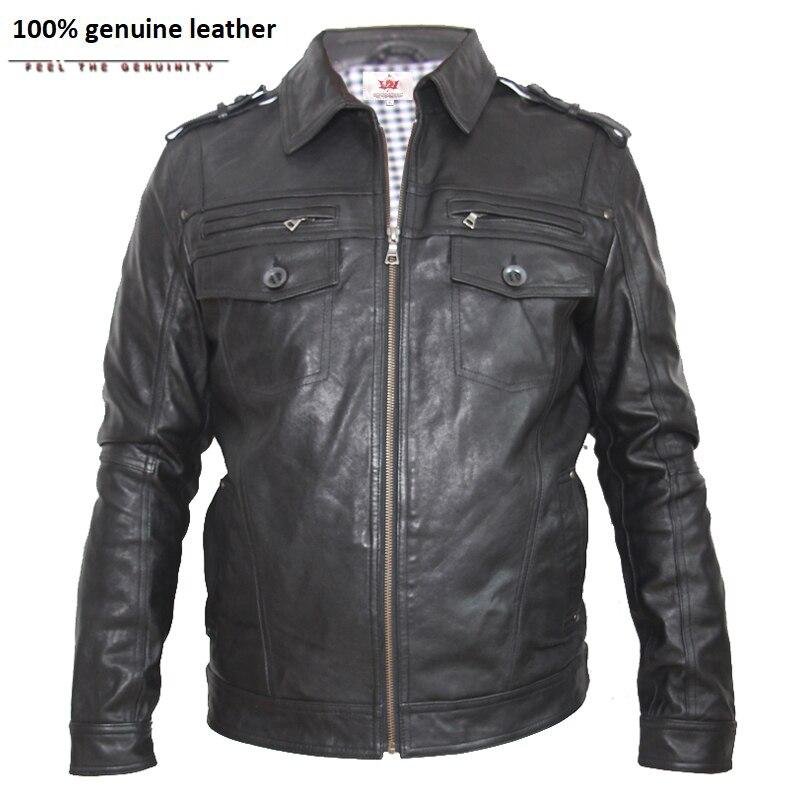 Brand Genuine Leather Jacket Men Leather Suit Black Veg Tanned Goatskin Leather Clothing Man Leather Coat Autumn 146