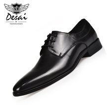 Men's 2019 New Style Genuine Leather Shoes Men Formal Business Dress Shoes Lace-up Pointed-Toe Business Casual Shoe Hot Sale цены онлайн