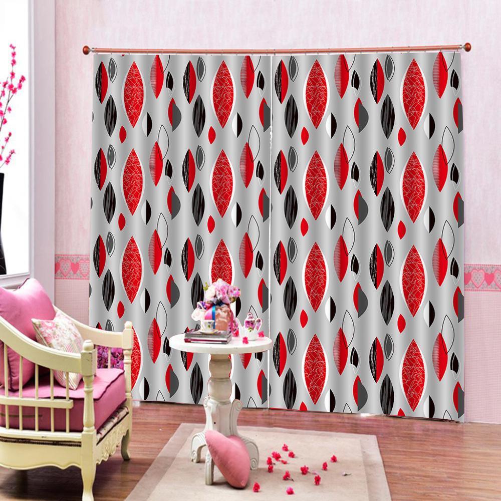 simple curtains Beautiful Photo Fashion Customized 3D Curtains red curtains Decoration curtains