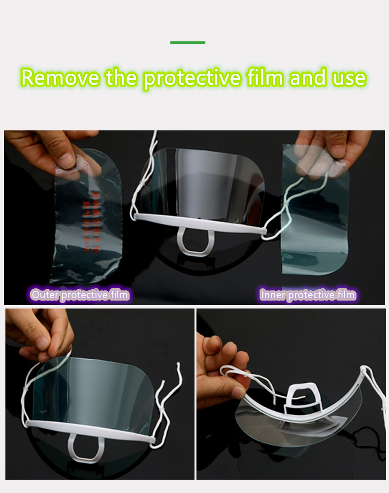 100 peças de máscara transparente catering especial