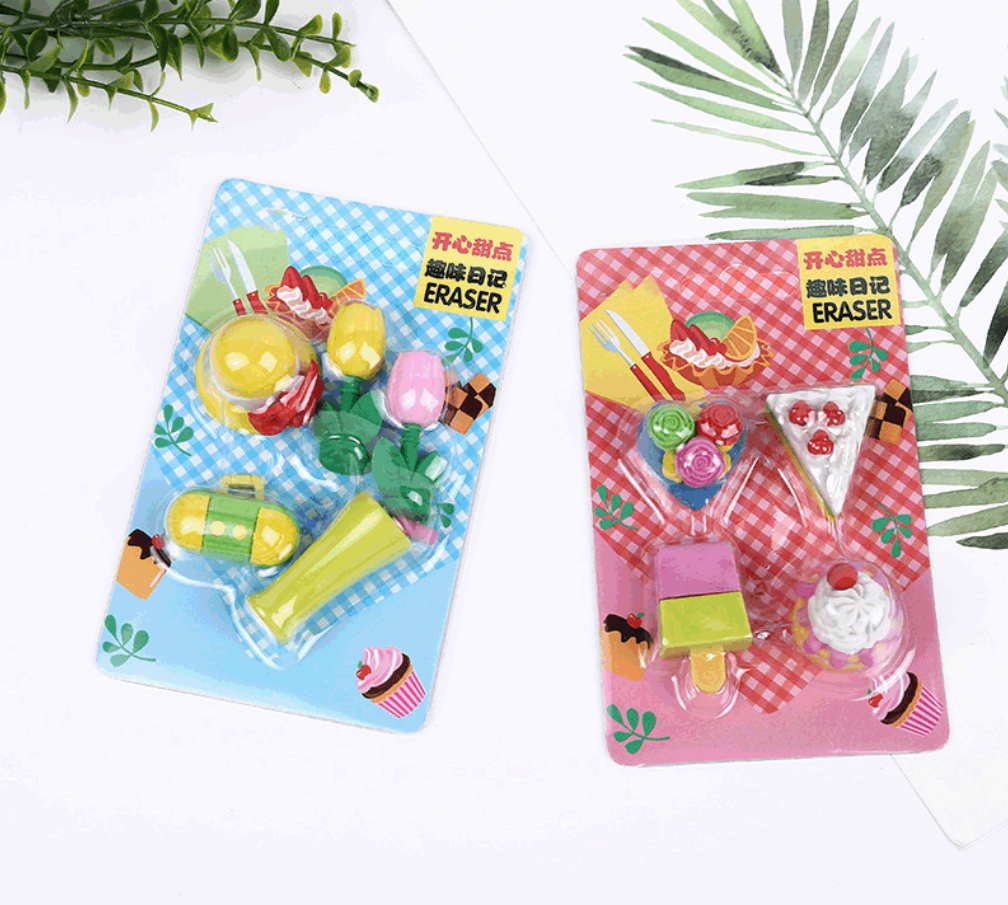 Cute Radio Flowers Icecream Cake Eraser Set Kawaii Rubber Erasers Primary Student Prize Promotional Stationery School Supplies
