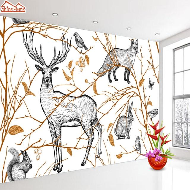 Naturalne drzewo zwierząt 3d tapety tapety do salonu brokat tapety papierowe wystrój domu skórki trzymać kontakt murale rolki
