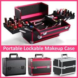 Bolsa de cosméticos profesional portátil, maletas para cosméticos de gran capacidad, bolsas de maquillaje de viaje para mujer, caja de cosméticos de cosmetología y manicura