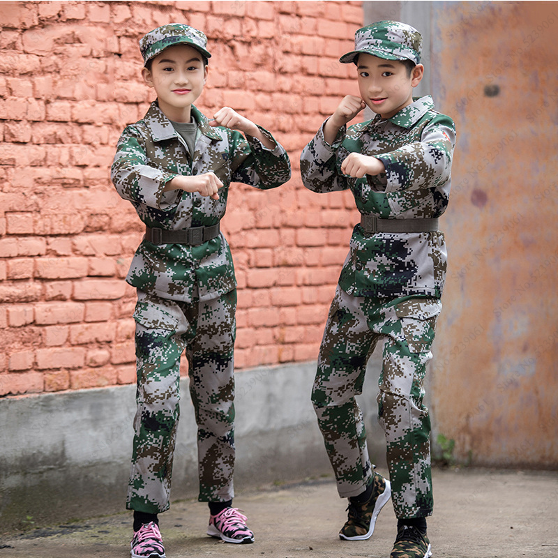 Children Tactical Combat Camouflage Military Uniform Kids Special Forces Camp Training Ghillie Suit Hunting Jackets Army Costume
