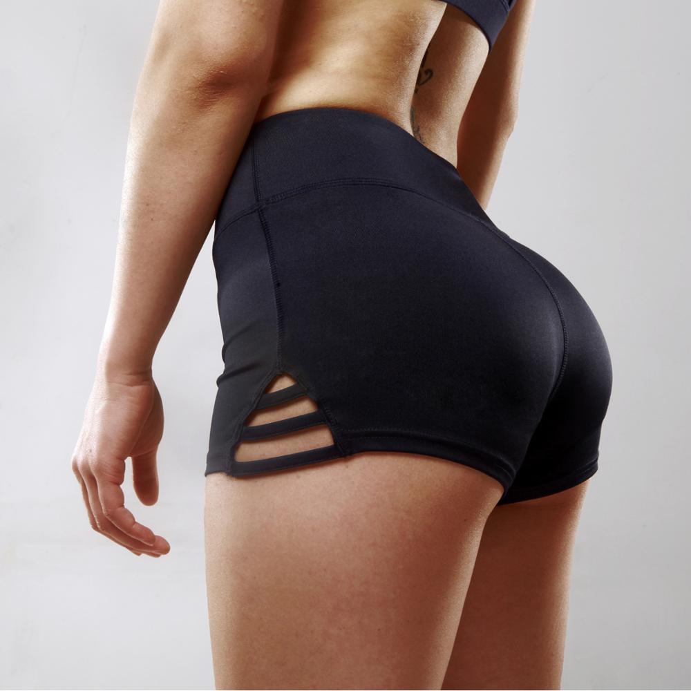 Women's High Waist Crossfit Shorts Workout Running Fitness Leggings Female Booty Shorts Yoga Gym Hollow Tight Leggins