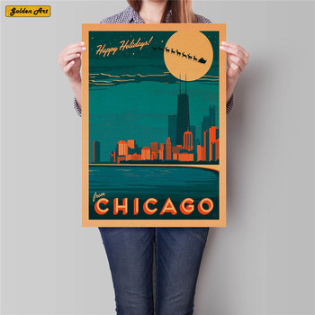 Chicago the Vacation City Poster Wall Art Sticker Vintage Kraft Paper Pub Bar Hotel Decor Hand Painted Landscape Picture 42x30cm image