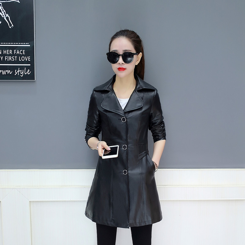 2019 Autumn Plus size Women   leather   jacket Korean Single Breasted Faux   Leather   Coat Fashion Slim Long Sleeve Women Outerwear 4XL