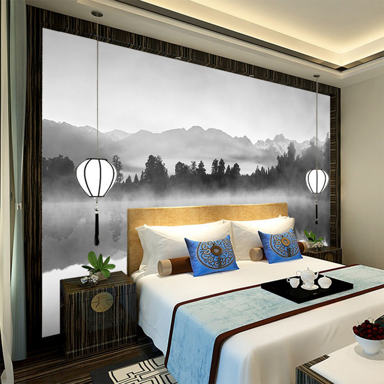 New Chinese Style Modern Enjoyable TV Backdrop Wallpaper Creative Abstract Artistic Conception Ink Landscape Painting Wallpaper