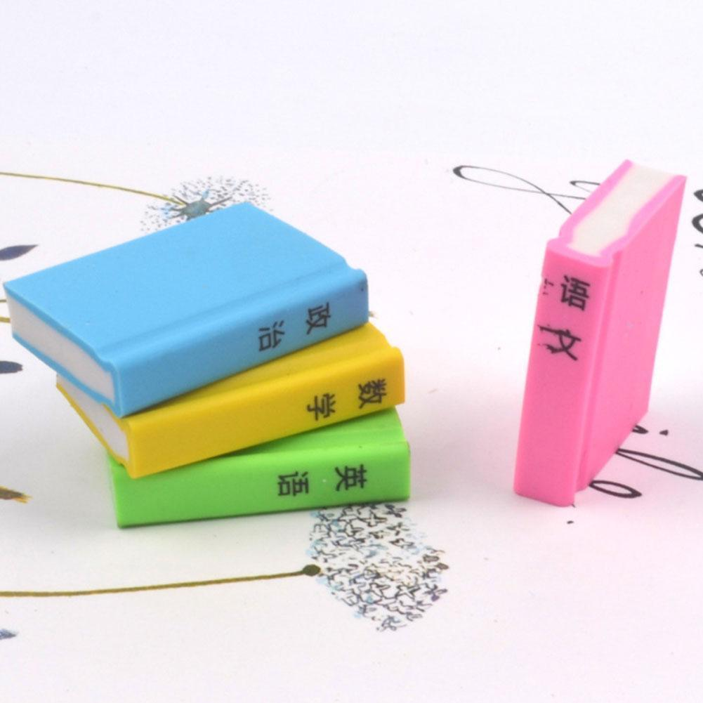 1pcs Cute Cartoon Creative Textbook Rubber Book Eraser Stationery Erasers Learning Gift Pencil Material Student Kids Escola Z2H4