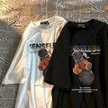 Хлопковая Готическая футболка в гонконгском стиле Харадзюку, летняя футболка для мальчиков с коротким рукавом, трендовая универсальная же...