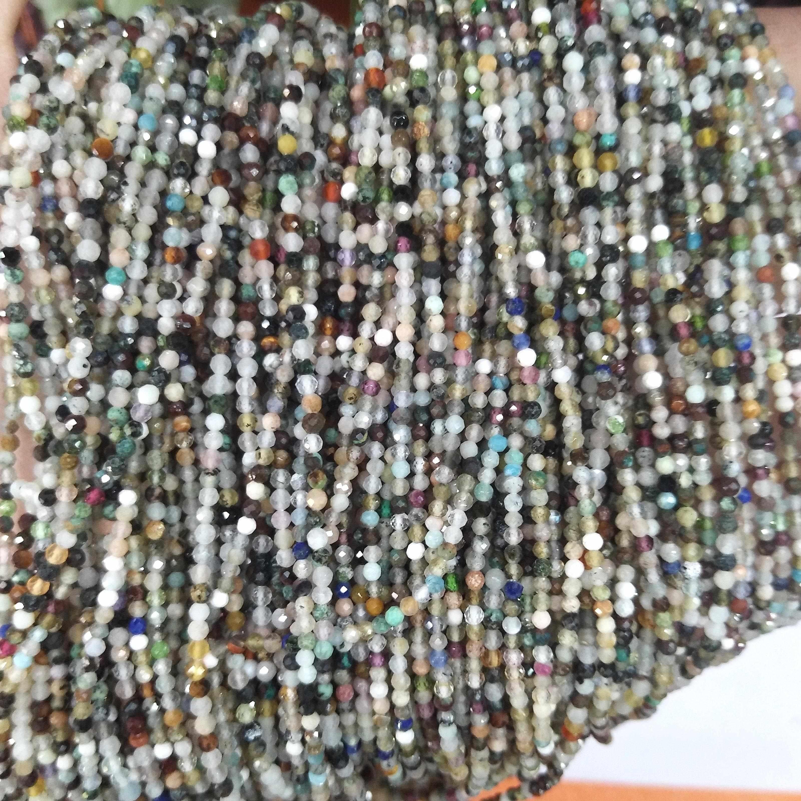 Facetada 2MM 3 MILÍMETROS Ágatas Ametista Lapis lazuli Natural Pedra Redonda Beads Quartzo Rosa Jade Contas Para Fazer Jóias DIY Pulseira