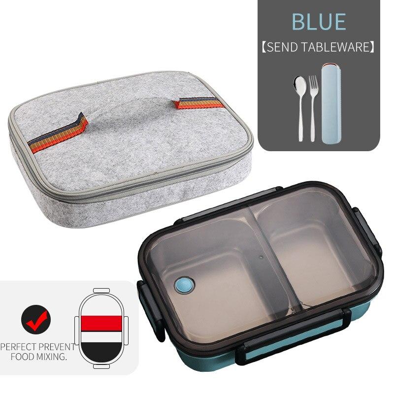 WORTHBUY японский Ланч-бокс для детей школы 304 из нержавеющей стали бенто Ланч-бокс герметичный контейнер для еды детская коробка для еды - Цвет: A Blue Bag Set