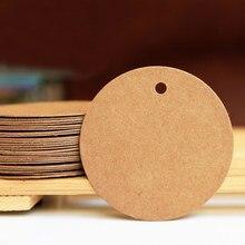 100 pçs redondo papel kraft tag em branco diy 3cm 3.5cm 4cm 4.5cm artesanal costura tag preço etiqueta cartões de casamento festa decoração tag